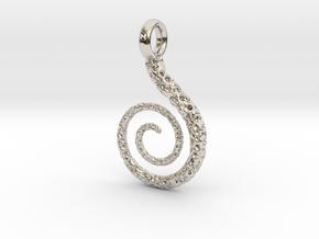 Spiral Pendant Textured - Version 2 in Rhodium Plated Brass