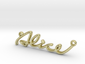 ALICE Script First Name Pendant in 18k Gold Plated Brass