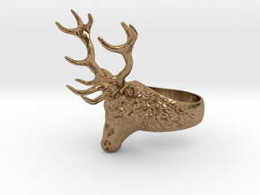 Deer Stag head ring. Hollow. in Natural Brass: 8 / 56.75