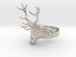 Deer Stag head ring. Hollow. in Platinum: 8 / 56.75
