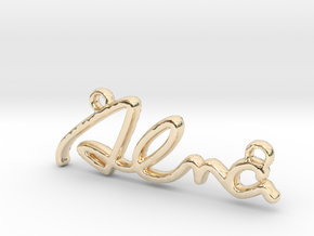 ALMA Script First Name Pendant in 14k Gold Plated Brass