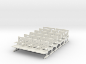 Modern Seat X 6  - HO Scale in White Strong & Flexible