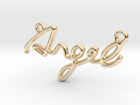 ANGEL Script First Name Pendant in 14k Gold Plated Brass
