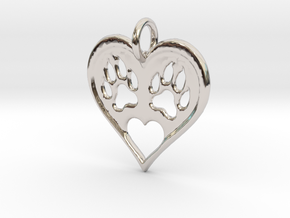 Cat paw print love heart pendant in Rhodium Plated Brass