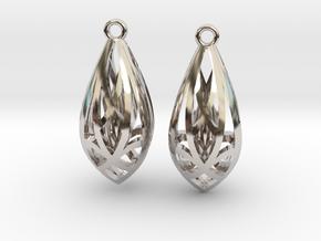 Teardrop shaped earrings in Rhodium Plated Brass