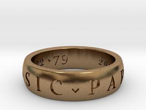 Sir Francis Drake, Sic Parvis Magna Ring Size 8.5 in Natural Brass