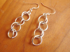 Rain Chain - Precious Metal Earrings  in Interlocking Polished Silver
