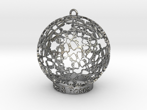 Roses & Roses Ornament in Natural Silver