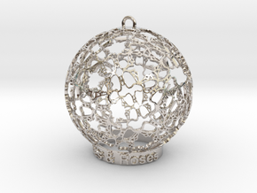Roses & Roses Ornament in Rhodium Plated Brass