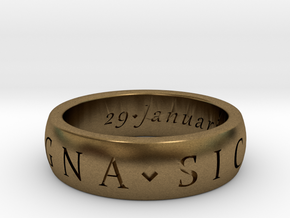 Sir Francis Drake, Sic Parvis Magna Ring Size 7.5 in Natural Bronze
