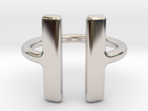 PAUSE Ring size 6 (M) in Rhodium Plated Brass