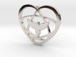 Atom Star Heart Bird 40x3mm Pendant in Rhodium Plated Brass