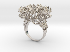 Ring The Thistle/ 14 HK size / 7 US (17.7 mm) in Rhodium Plated Brass