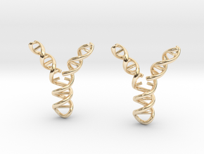 Replicating DNA Earrings in 14k Gold Plated Brass