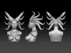 Long horn woman head in 5cm in Smooth Fine Detail Plastic