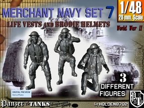 1-48 Merchant Navy Crew Set 7 in Smooth Fine Detail Plastic