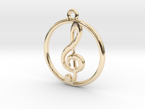 Treble Clef & Ring Pendant in 14K Yellow Gold
