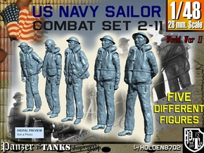 1-48 US Navy Sailors Combat SET 2-11 in Smooth Fine Detail Plastic
