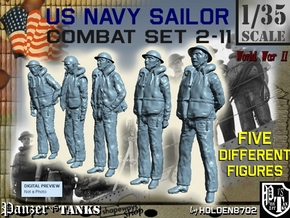 1-35 US Navy Sailors Combat SET 2-11 in Smooth Fine Detail Plastic