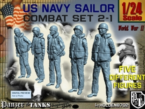 1-24 US Navy Sailors Combat SET 2-1 in White Natural Versatile Plastic