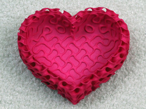 Gyroid Bowl Heart in Pink Processed Versatile Plastic