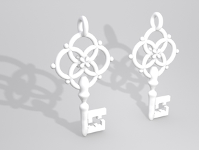 Old Key Earrings in White Natural Versatile Plastic