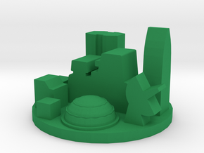Game Piece, Future City in Green Processed Versatile Plastic