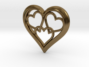 3 in 1 Hearts Pendant in Polished Bronze