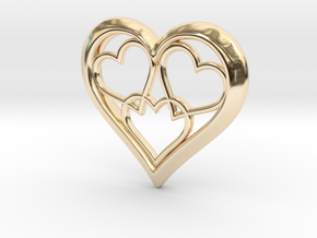 3 in 1 Hearts Pendant in 14k Gold Plated Brass