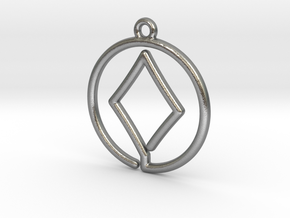 Diamond Card Game Pendant in Natural Silver