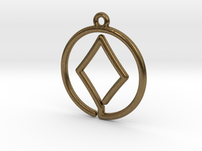 Diamond Card Game Pendant in Natural Bronze