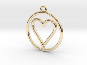 Heart Card Game continuous line Pendant in 14K Yellow Gold