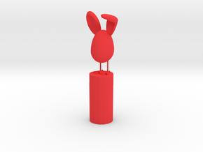 Bunny Pencil Topper in Red Processed Versatile Plastic: Medium