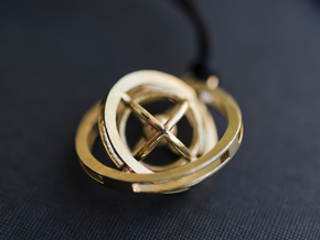 Double Rotating Planet - Time turner inspired in Interlocking Raw Brass