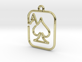 The ace of spades continuous line pendant in 18k Gold Plated Brass