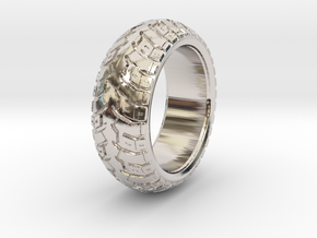 K60 - Tire ring in Rhodium Plated Brass: 4 / 46.5