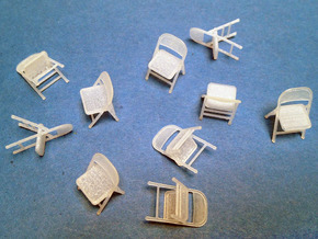 1:48 Folding Chairs (Set of 10) in Smooth Fine Detail Plastic