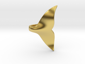 Whale Tail pendant in Polished Brass