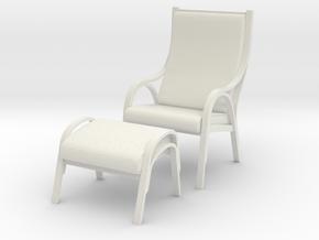 Danish Bentwood Chair w/ Ottoman in White Natural Versatile Plastic: 1:12