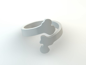 Crossed Bone Ring Size 6.75 in White Natural Versatile Plastic
