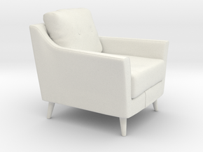 Retro Armchair in White Natural Versatile Plastic: 1:48