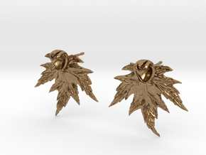 Leaf Earring Stud in Natural Brass