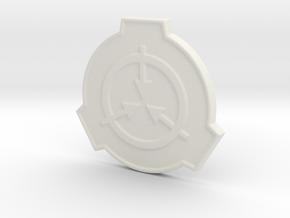SCP Foundation Pin in White Natural Versatile Plastic