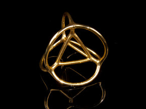 Soap Bubble Tetrahedron in Polished Brass: Small