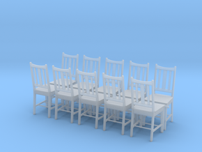 Wooden Chair Set of 10 in Smooth Fine Detail Plastic: 1:32