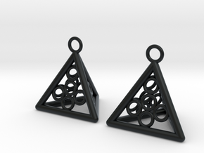Pyramid triangle earrings serie 3 type 5 in Black Hi-Def Acrylate