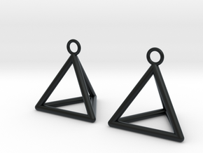 Pyramid triangle earrings in Black Hi-Def Acrylate