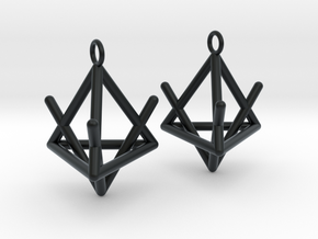 Pyramid triangle earrings type 2 in Black Hi-Def Acrylate