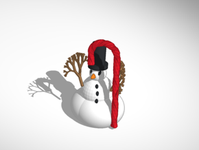 The Snowman In Top Hat With Candy Cane in Full Color Sandstone