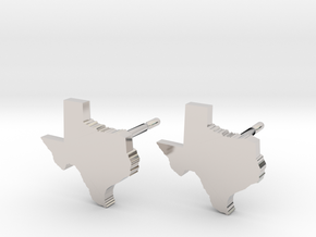 Texas State Earrings, post style in Rhodium Plated Brass